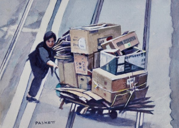 David Paskett Between the Tramlines, Hong Kong watercolour Artwork: 22 x 16cm