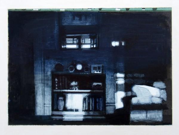 Mike Middleton Bookcase and Mirror watercolour & acrylic Frame: 33 x 38 cm Artwork: 13 x 18 cm