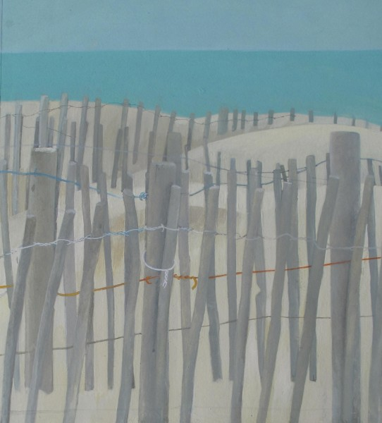 Wendy Jacob Dunes near Sète gouache Frame: 45 x 45 cm Artwork: 26 x 24 cm