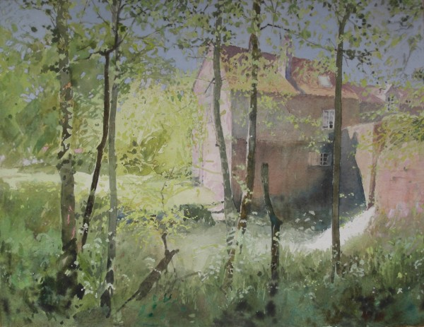 Annie Williams Watermill in the Dordogne watercolour Frame: 59 x 70 cm Artwork: 41 x 53 cm
