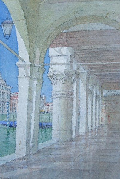 Dennis Roxby Bott Sestiere de Canareggio, Venice watercolour Frame: 66 x 51 cm Artwork: 43 x 28 cm