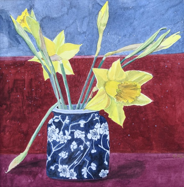 Suzy Fasht Daffodils watercolour Artwork: 32 x 32cm