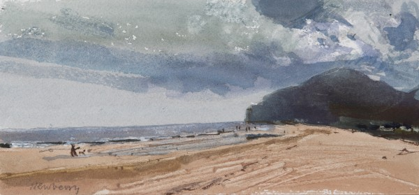 John Newberry Looking East, Playa de Berria, Spain watercolour 28x38cm