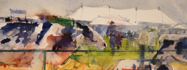 Richard Pikesley Cattle Lines, Melplash watercolour 20x31cm
