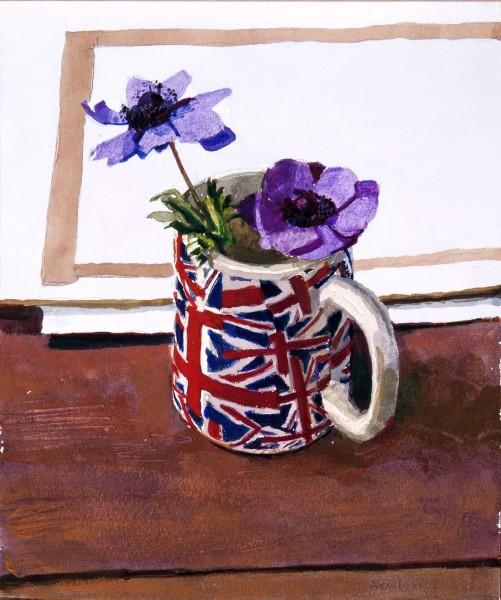 John Newberry Blue Anemones watercolour 47x41cm