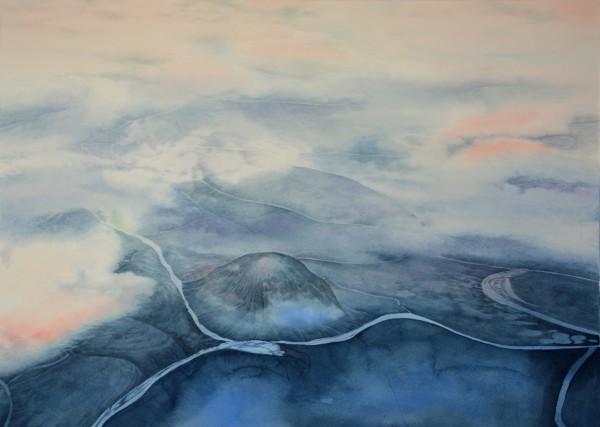 Liz Butler Somewhere over Siberia watercolour 94x74cm