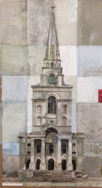 Stuart Robertson Christ Church Hawksmoor watercolour & collage Artwork: 22 x 42cm