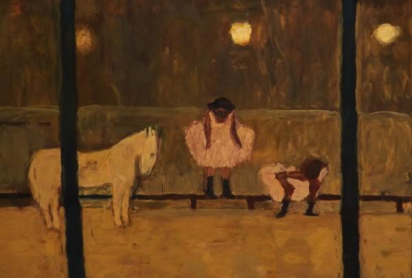 Bridget Moore Horse and Girls gouache Frame: 34 x 41 cm Artwork: 18 x 26 cm