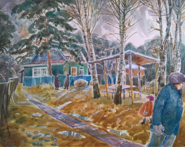 June Berry Waiting for Spring in a Moscow Suburb watercolour