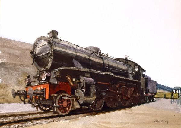 John Newberry Locomotive, Cagliare, Sardinia watercolour Frame: 44 x 54 cm Artwork: 22. x 39 cm