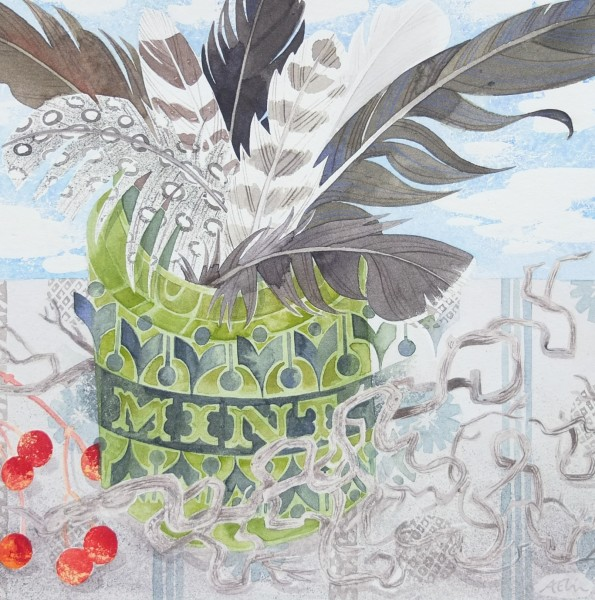 Angie Lewin Green Jar with Red Berries and Feathers watercolour Frame: 39 x 38 cm Artwork: 20 x 20 cm