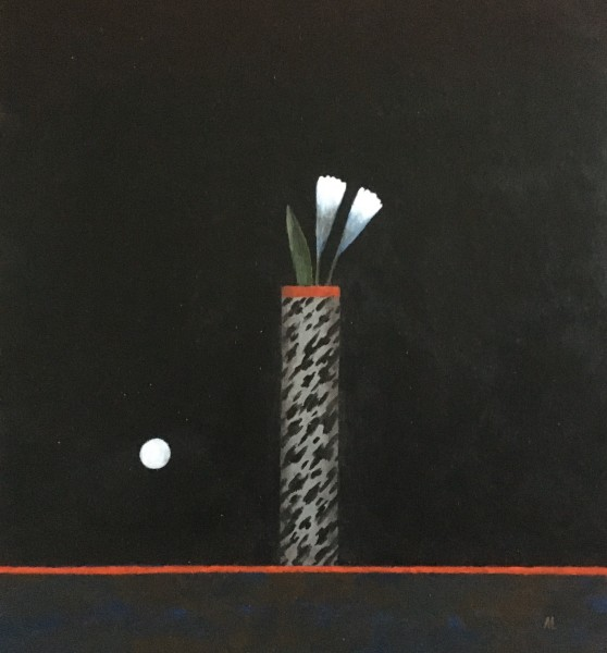 Martin Leman Moonlit Flowers acrylic on card Frame: 49 x 45 cm Artwork: 33 x 31 cm