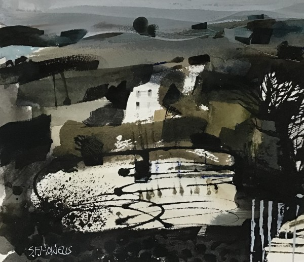 Sue Howells House and Lake, Brecon watercolour Frame: 38 x 42 cm Artwork: 20 x 24 cm