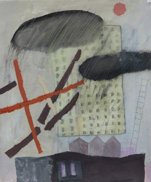 Caroline McAdam Clark Blick ins Chaos watercolour, pencil & collage 55x47cm