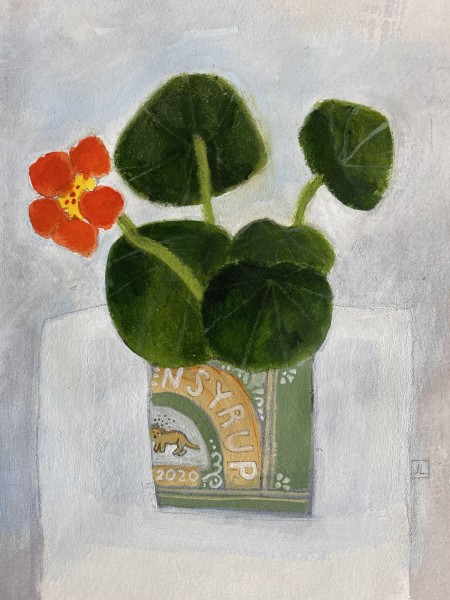Jill Leman The Last Nasturtium watercolour & acrylic on paper Frame: 36 x 36 cm Artwork: 20 x 20 cm