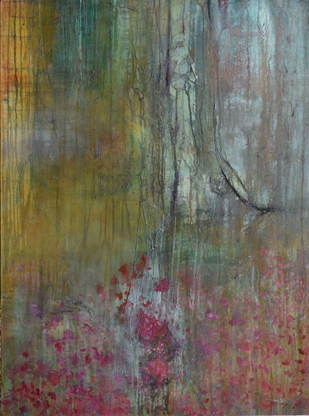 Robin Richmond Aquitaine - A Walk in the Forest, After Lockdown, France acrylic, japanese ink, brou de noix & fibre on canvas Frame: 122 x 90 cm Artwork: 122 x 90 cm