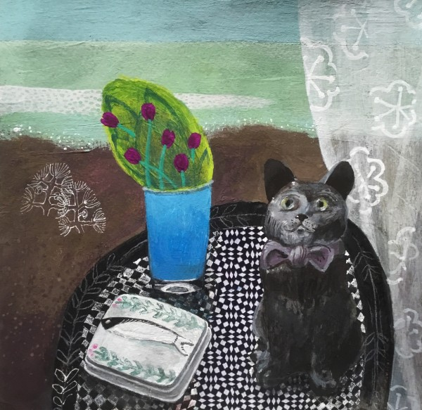 Gertie Young eBay Cat with Sardine Box watercolour, gouache, collage & pencil 25x25cm