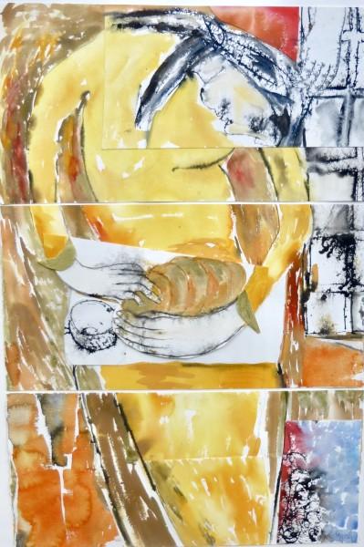 Anne Lynch Preparing with Care watercolour Frame: 110 x 75 cm