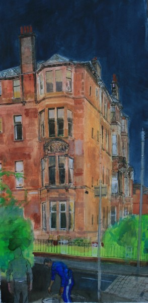 Peter Quinn On Falkland Street, Glasgow watercolour 121x68cm