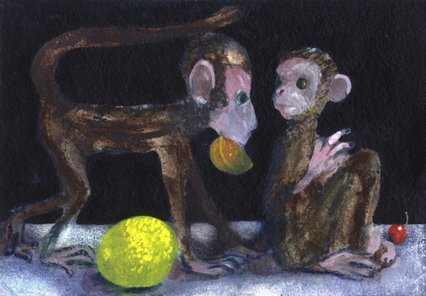 Charles Williams Monkeys with Lemon watercolour, gouache & acrylic Frame: 24 x 30 cm Artwork: 17 x 20 cm
