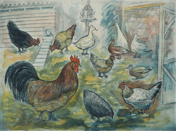 Richard Bawden Henry and Friends watercolour & etching Frame: 54 x 42cm