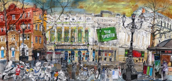 Peter Quinn Garrick Theatre, Charing Cross Road, London watercolour Frame: 100 x 60 cm Artwork: 39 x 82 cm