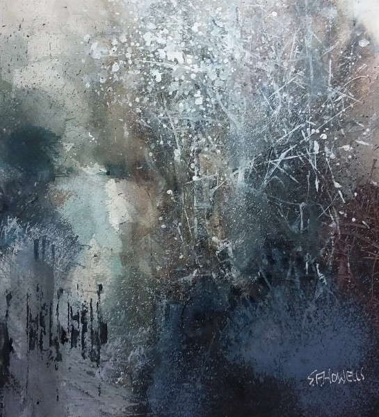 Sue Howells Mid-Winter Frost watercolour 45 x 47cm