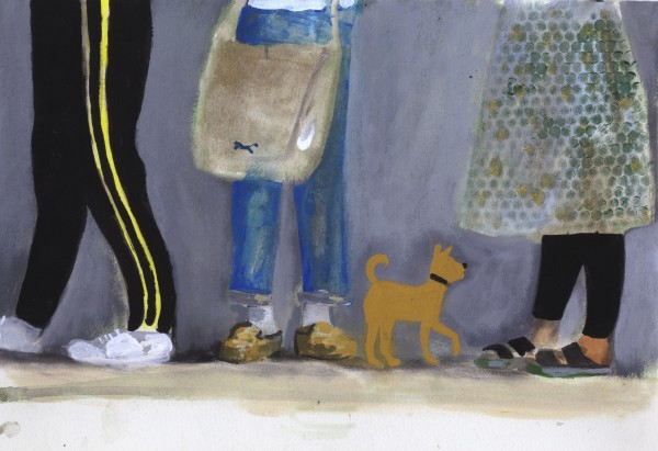 Charles Williams Legs and Small Dog watercolour & gouache 40x50cm