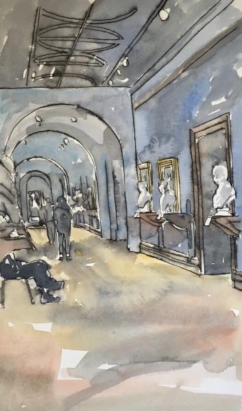 Thomas Plunkett National Portrait Gallery Interior I ink & watercolour Frame: 53 x 43 cm Artwork: 42 x 29 cm