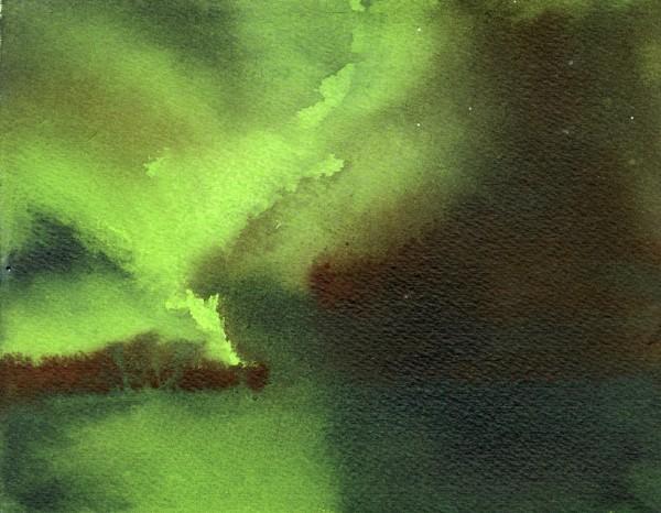 Simon Pierse Aurora (IX) watercolour over spray paint Frame: 34 x 30.5 cm Artwork: 19 x 14.5 cm