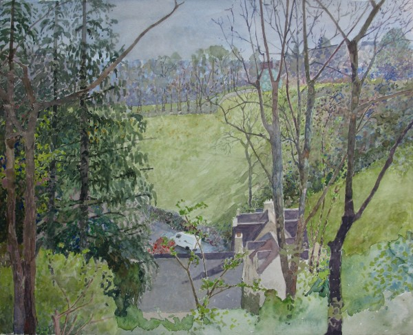 Annie Williams View from the Shed watercolour Frame: 54 x 64 cm Artwork: 37 x 47 cm