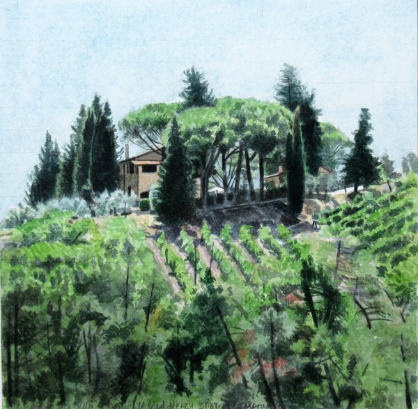 Mike Middleton View from Villa la Dame, Impruneta watercolour Frame: 34 x 34 cm Artwork: 19 x 19 cm