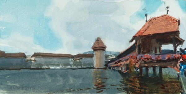 John Newberry Chapel Bridge, Lucerne, Switzerland watercolour Frame: 30 x 41 cm Artwork: 9.5 x 19 cm