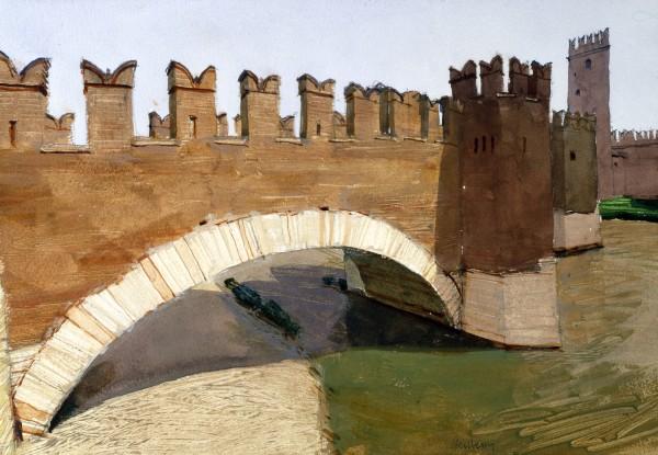 John Newberry Ponte Scagligere, Verona watercolour Frame: 44 x 54 cm Artwork: 22 x 33 cm