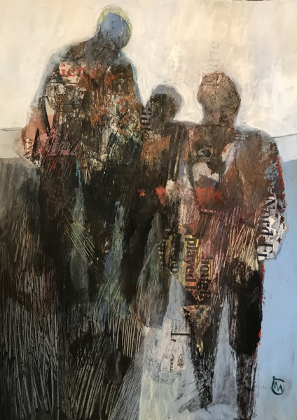 Colin Merrin Tomorrow acrylic & collage Frame: 57 x 45 cm Artwork: 40 x 28 cm
