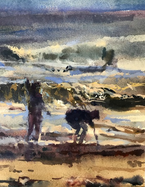Francis Bowyer Beach Fun watercolour & bodycolour Artwork: 25 x 25cm