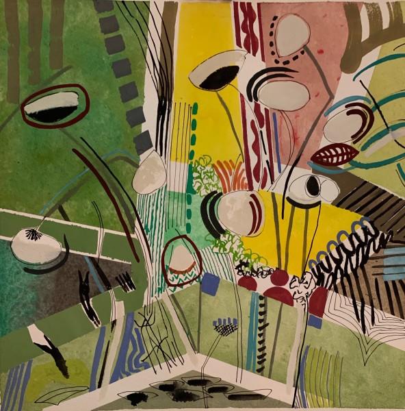 Chloe Fremantle Artichokes 79 gouache Artwork: 35 x 35cm
