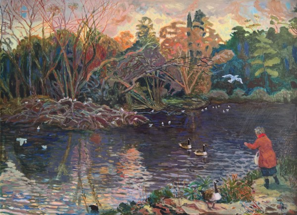 June Berry The Lake, Winter Afternoon oil Frame: 62 x 79 cm Artwork: 49 x 66 cm