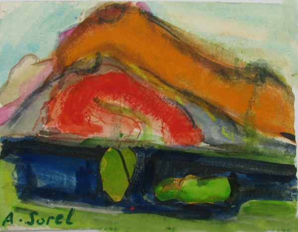 Agathe Sorel Red Hill in the Morning watercolour & collage 39x50cm