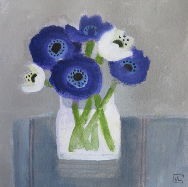 Jill Leman Anemones from St Ives watercolour & acrylic 32.5x32cm