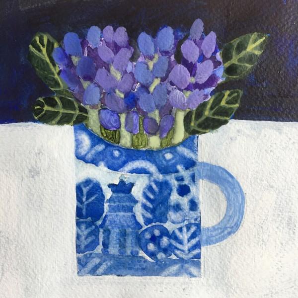 Jill Leman Little Blue Bunch acrylic Artwork: 15 x 15 cm Frame: 31 x 31 cm