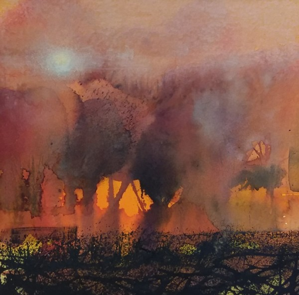 Sue Howells Glow of Day Fading Away watercolour 50x50cm