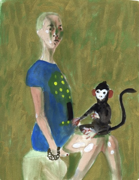 Charles Williams Laura with her Monkey gouache 50x35cm