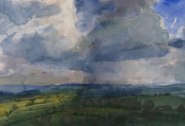 Richard Pikesley Rain Passing, Pilsdon Pen watercolour 58x73cm
