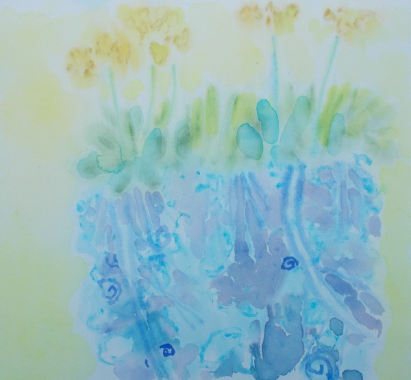 Anne Marlow Field Flowers watercolour Frame: 44 x 46.5 cm Artwork: 26 x 29 cm