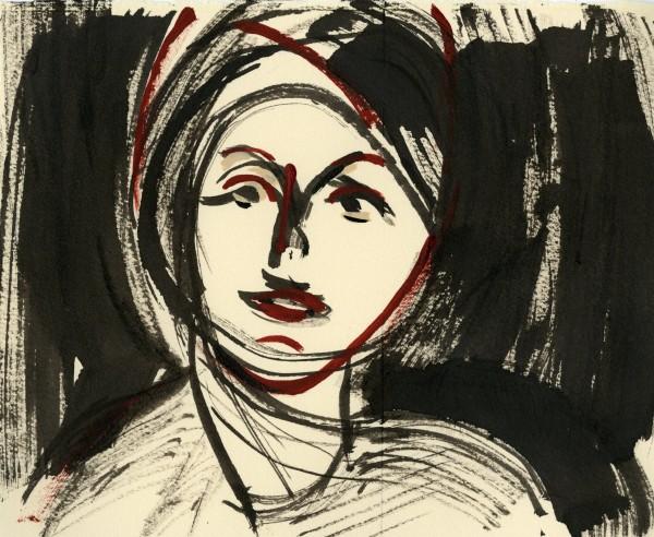 Julia Midgley Girl B&Q Queue indian ink Frame: 42 x 32 cm Artwork: 20 x 25 cm