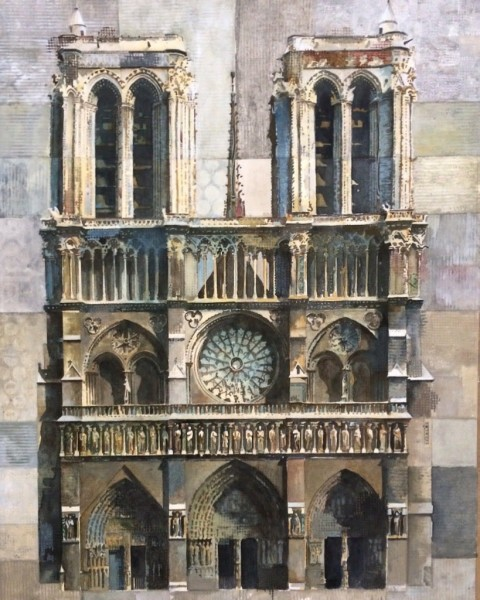 Stuart Robertson Notre Dame de Paris watercolour Frame: 89 x 74 cm Artwork: 67 x 52 cm