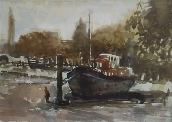 Jane Corsellis Barge at Strand on the Green, Chiswick watercolour 37x41cm