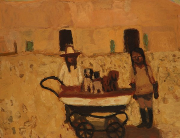 Bridget Moore Sunny Dogs gouache Frame: 36 x 39 cm Artwork: 19 x 24 cm