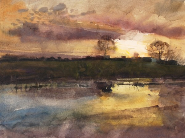 Richard Pikesley Stour, After the Swans, Winter Afternoon watercolour 51x61cm